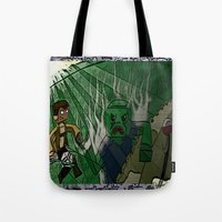 shingeki no kyojin Tote Bags featuring Shingeki no Minecraft (Minecraft into Shock/Minecraft Advance) - Attack on Minecraft by Bone Head Illustrations