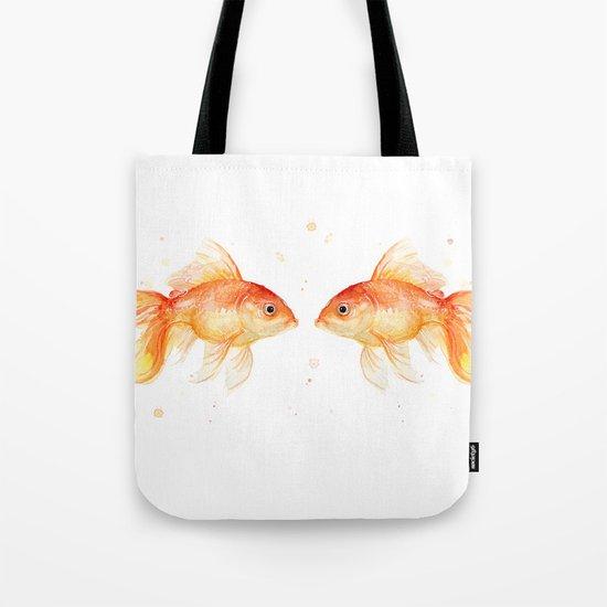 Goldfish Love Watercolor Fish Painting Tote Bag