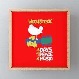 Woodstock 1969 - red background Framed Mini Art Print