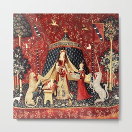 The Lady and The Unicorn Tapestry Metal Print
