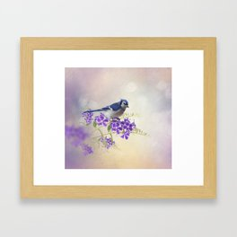 Blue Jay Perching on Blue Flowers watercolor painting Framed Art Print