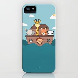 Kawaii Cute Zoo Animals On A Boat iPhone Case