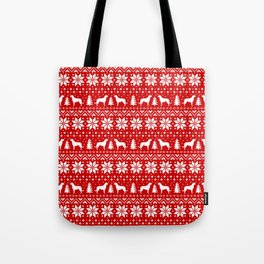 Irish Wolfhound Silhouettes Christmas Sweater Pattern Tote Bag