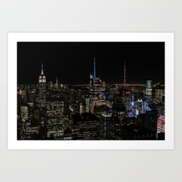 Skyline by night The Top of The Rock | Colourful Travel Photography | New York City, America (USA) Art Print
