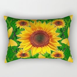 Green Yellow Butterflies Sunflowers Flowers  Art Rectangular Pillow