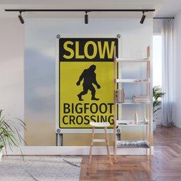 Bigfoot Crossing Sign Wall Mural