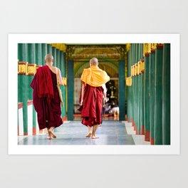 Monaci, Myanmar Art Print