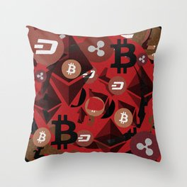 Crypto currency money pink pattern Throw Pillow