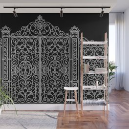 French Wrought Iron Gate | Louis XV Style | Black and Silvery Grey Wall Mural
