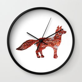 red maple standing fox silhouette Wall Clock