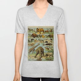 Mammiferes-Mammals Vintage Scientific Illustration French Language Encyclopedia Lithographs Unisex V-Neck