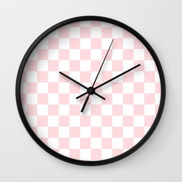 pink checkered pattern Wall Clock