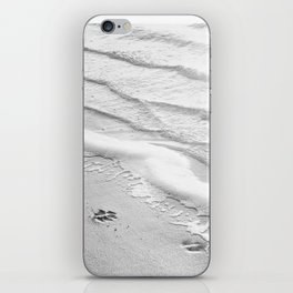 Black and White Beach Ocean Photography, Dog Paw Prints, Grey Water Ripples, Gray Sea Coastal Photo iPhone Skin