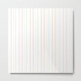 Modern geometrical pink coral green white stripes Metal Print