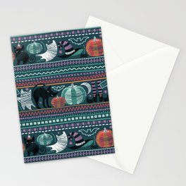 Embroidery Halloween // black cats orange aqua and teal pumpkins white ghosts and stitches on green Stationery Cards