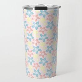 Modern pastel pink coral blue floral illustration Travel Mug