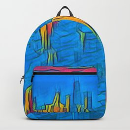 Colorful Artwork City Art Painting On Canvas Backpack