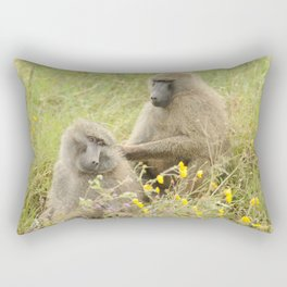 Grooming baboons Rectangular Pillow