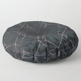Rose Gold Pink Geometric Modern Pattern Trendy Black Marble II Floor Pillow