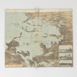 Vintage Pictorial Map of Boston Harbor (1879) Throw Blanket