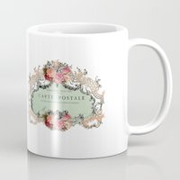 shabby chic Mugs featuring Shabby Chic Carte Postale by Nika in Wonderland