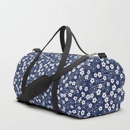 Blue Sakura Kimono Pattern Duffle Bag