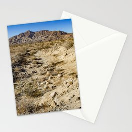 Dirt Trail Lines with Rocks Leading Back towards Granite Mountain in the Anza Borrego Desert Stationery Cards