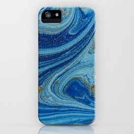 Blue & Gold Glitter iPhone Case