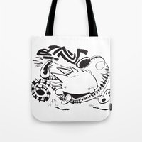 calvin and hobbes Tote Bags featuring Calvin and Hobbes line-work caricature design by Eric Goodwin