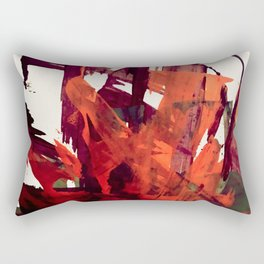 Embers (2): A bold abstract piece in reds, gray, and white Rectangular Pillow