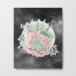 Pink Succulent Full Moon Night Sky by Nature Magick Metal Print