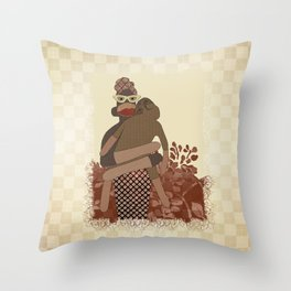 Sock Monkey Mother and Child Throw Pillow