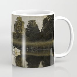 Boat at Dusk with Olive Gold and Gray Coffee Mug