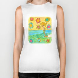 hang 10 groovy surf dude flower power Biker Tank
