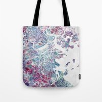 boston map Tote Bags featuring Boston map by MapMapMaps.Watercolors