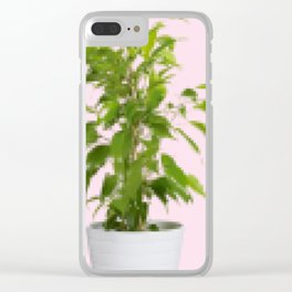 Pixelated Pot Plant Clear iPhone Case