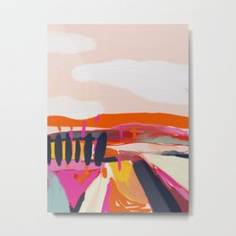 landscape pink peachy abstract Metal Print
