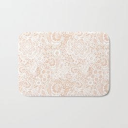 Nude with white lace flowers and birds Bath Mat