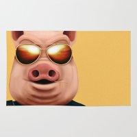 pigs Area & Throw Rugs featuring PIGS by Brandon Juarez
