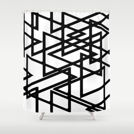 Interlocking Black Triangles Artistic Design Shower Curtain