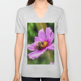Bumble Bee on Pink Cosmos Unisex V-Neck