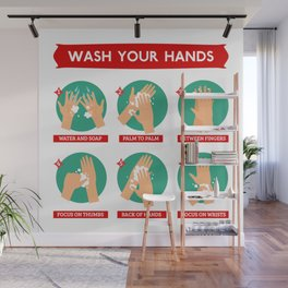 Correct Hand Washing Instructions Infographic Wall Mural
