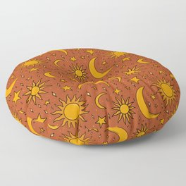 Vintage Sun and Star Print in Rust Floor Pillow