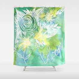 Watercolor Green and Yellow Bloom Floral Botanical Line Drawing Shower Curtain