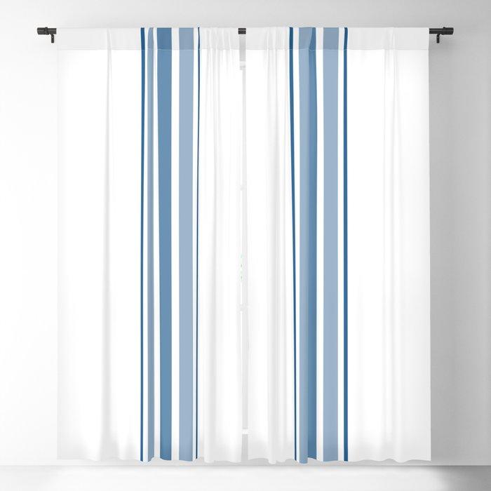 Farmhouse Blue Ticking Stripes On White Blackout Curtain