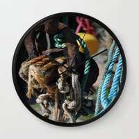 tool Wall Clocks featuring fisherman's tool by  Agostino Lo Coco