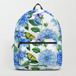 Hand painted blush blue pink yellow watercolor floral butterfly Backpack