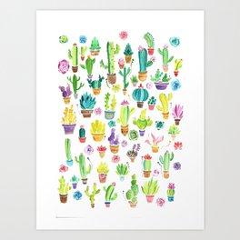 Happy Cactuses Art Print