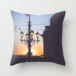 Freedom bridge - summer sunset II. Throw Pillow