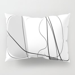 Black & White  Abstract Line drawings, Nordic wall home decor, Minimal geometric abstraction Pillow Sham